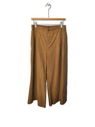 Pantalón tiro alto beige