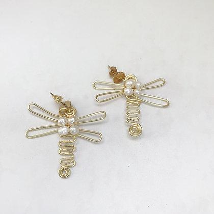 Aros Libélula perla dorado