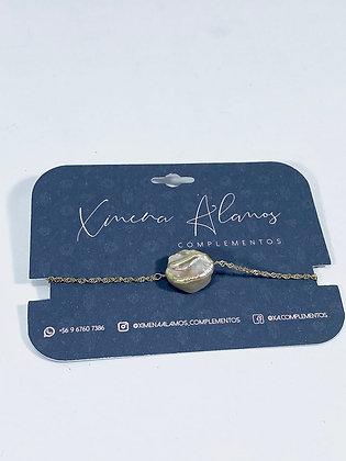 Pulsera de cadena de plata con perla barroca