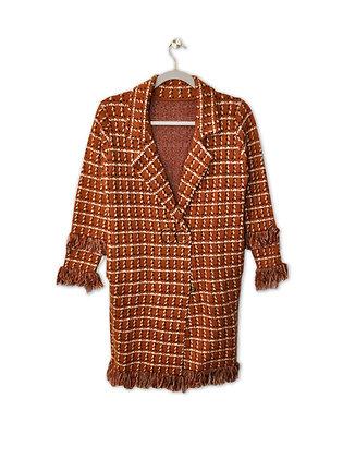 Chaleco/abrigo con flecos café