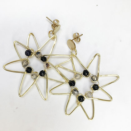 Aros heptagrama negro dorado