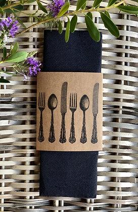 Servilletas negras con cinta cubiertos 20 un