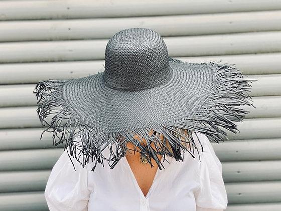 Sombrero flecos playa negro