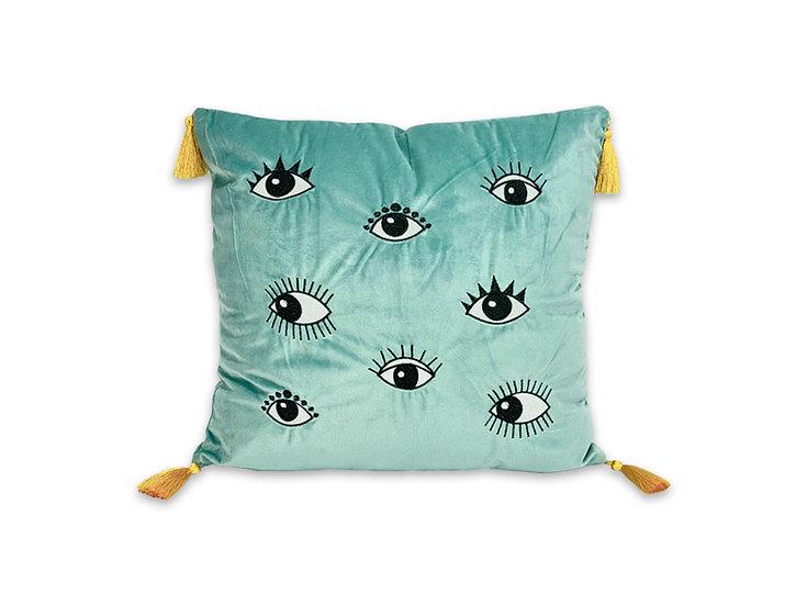 Cojín velvet ojos turquesa con borlas