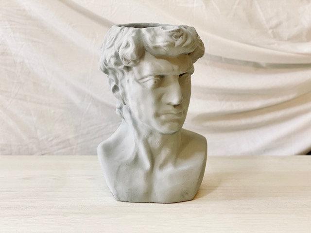 Maceta busto & rostro hombre gris