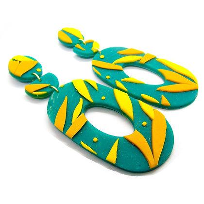 Aros Cocó verde amarillo