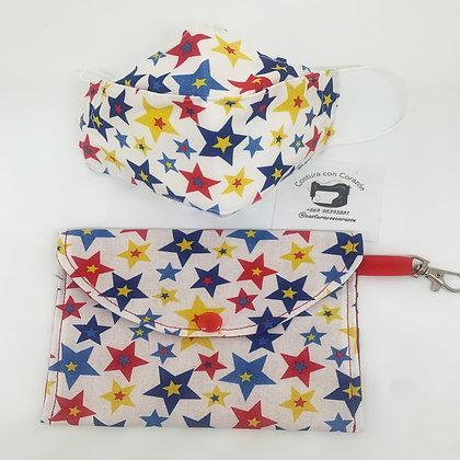 Mascarilla niños con bolsita Estrellas primarias