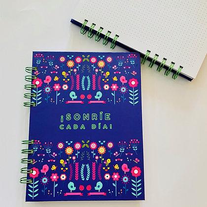 Cuaderno flores azul
