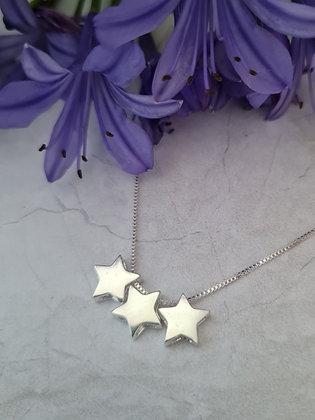 Collar triple Estrellas Plata