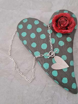 Collar Corazón de Melón Plata