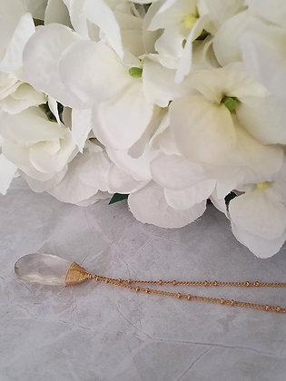 Collar gota natural grande transparente