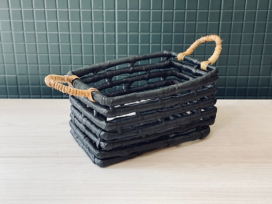 Canasto negro fibra gruesa 34X20 cm