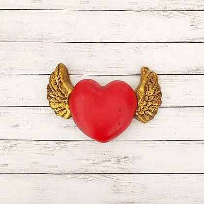 Corazon rojo alas dorada xl