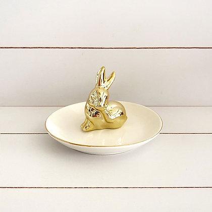 Joyero conejo blanco dorado