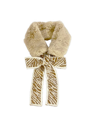 Cuello piel lana animal print café