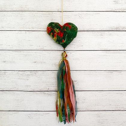 Colgante corazón verde rojo