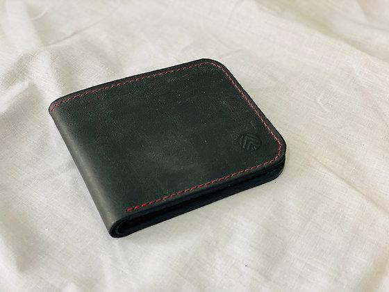 Billetera cuero negra costuras rojas