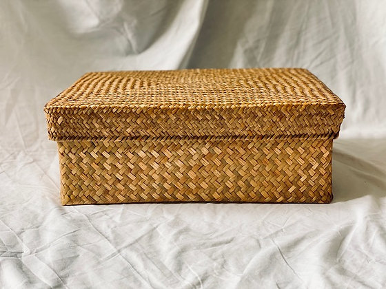 Caja ratán con tapa 43x32cm