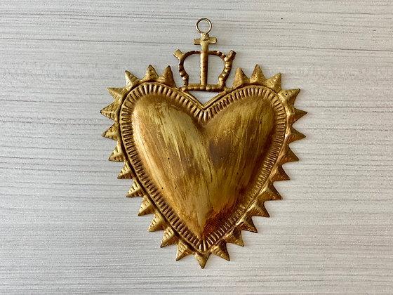 Corazón metal liso con corona