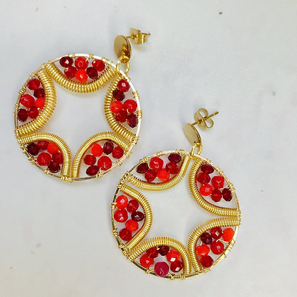 Aros Mandala flor rojo dorado