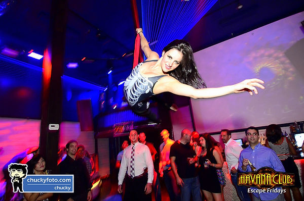 McKinley Campos performng on aerial silks at Havana Nightclub in Atlanta