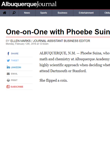 Albuquerque Journal - One on One with Phoebe Suina