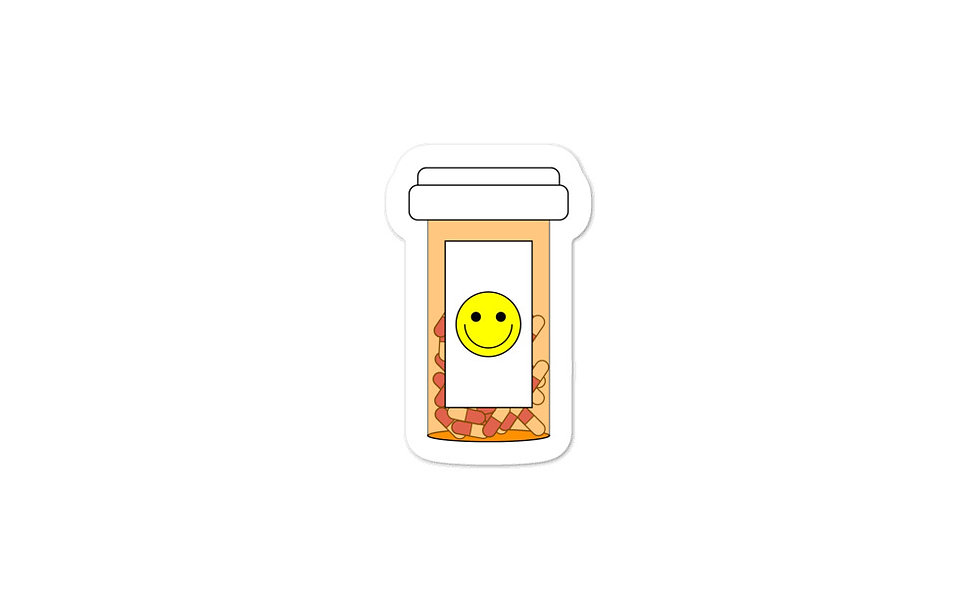 """Happy Pills"" sticker (pink)"
