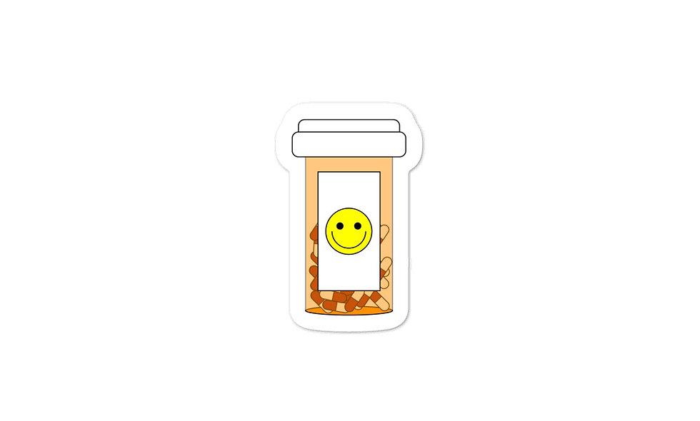 """""""Happy Pills"""" sticker (red)"""