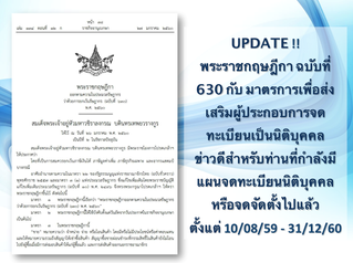 พระราชกฤษฎีกา ฉบับที่ 630 กับ มาตรการเพื่อส่งเสริมผู้ประกอบการจดทะเบียนเป็นนิติบุคคล