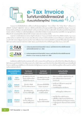 e-Tax Invoice ใบกำกับภาษีอิเล็กทรอนิกส์กับแนวคิดโลกยุคใหม่ Thailand 4.0 (FAP)