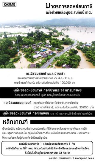 มาตรการลดหย่อนภาษีเพื่อช่วยเหลือผู้ประสบภัยน้ำท่วม