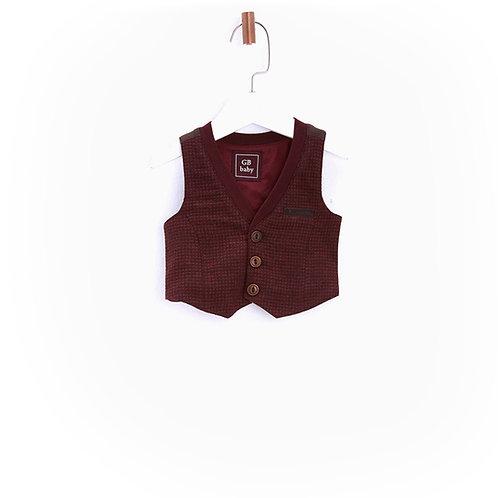 Burgundy Wool Blend Vest-17FW0BG1708