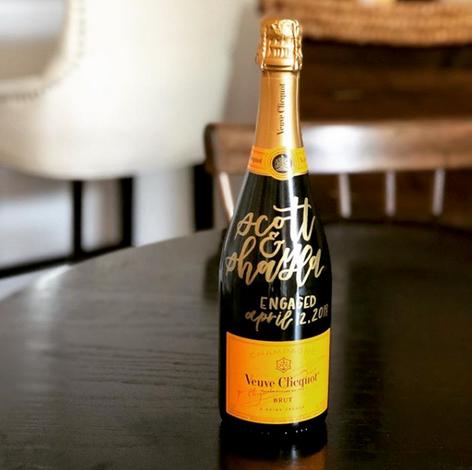 Lettered Champagne Bottle