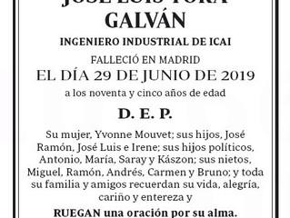 Fallecimiento de nuestro compañero D. José Luis Torá
