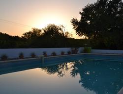 Dreamy evening pool scene