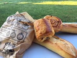 French bread, chocolatine and pain aux raisins