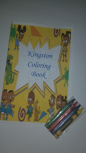 Custom coloring books (4 pages) with crayons