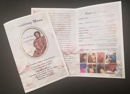 8x11 folded obituary prints only