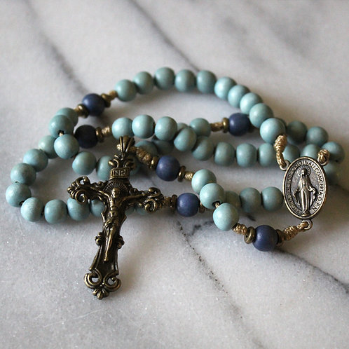 Light Blue Our Lady of Grace Rosary