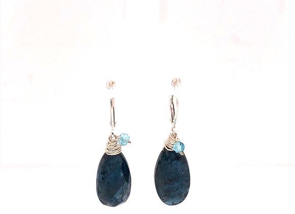 Indigo Kyanite and Apatite Earrings