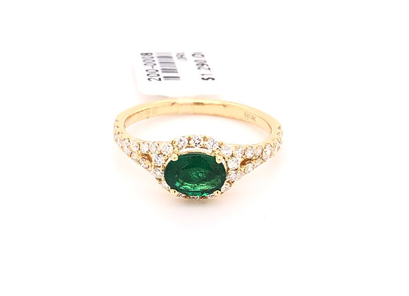 Oval Emerald Diamond Halo Ring
