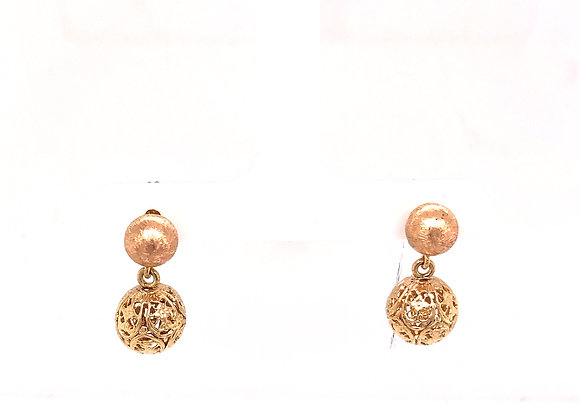 Yellow Gold Pierced Dangle Ball Earrings