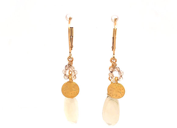 Moonstone and Turkish Coin Earrings