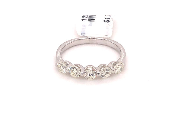 White gold 5 stone diamond band