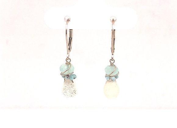 White Druzy and Larimar Earrings