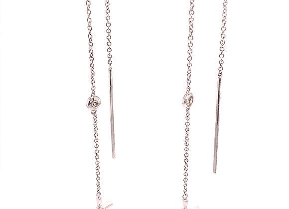 Bezel Set Diamond Cross Threader Earring