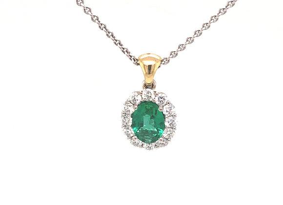 Emerald and Diamond Halo Pendant