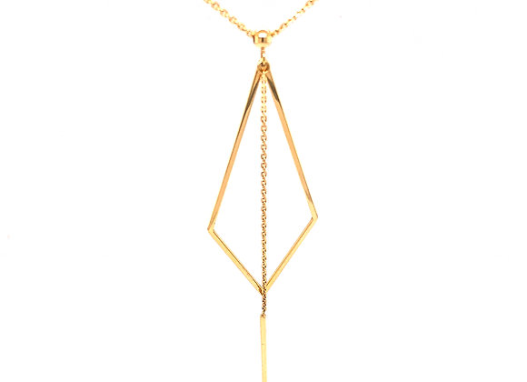 Yellow Gold Geometric Drop Necklace