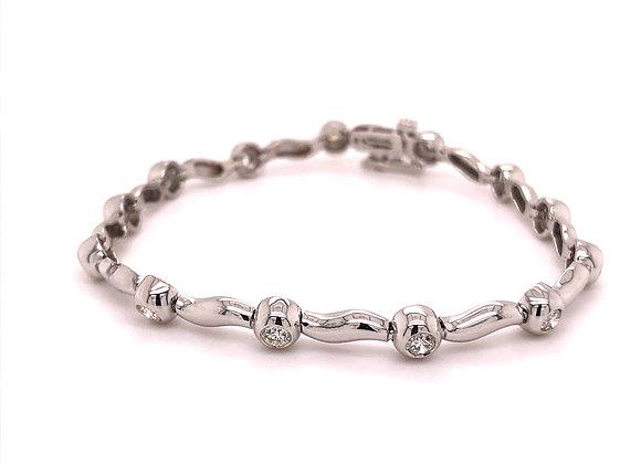 Bezel Set Diamond Link Style Bracelet