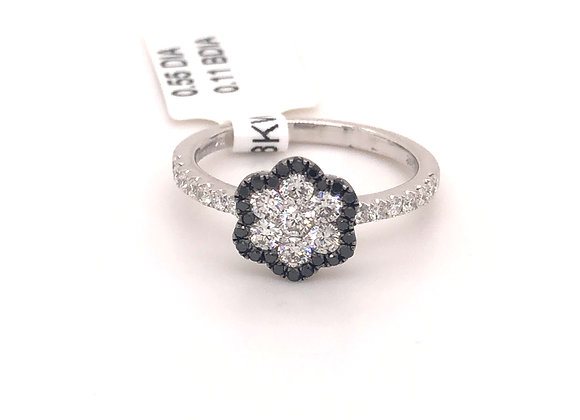 Black and White Floral Diamond Ring